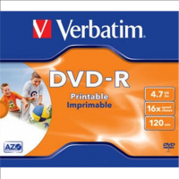 Verbatim DVD-R 4.7GB 16X AZO jewel
